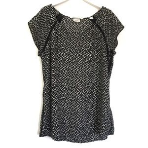 Maison Scotch Black White Dotted Lattice Blouse 10